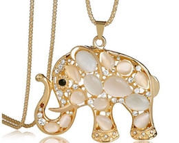 Wholesale Long Elephant Necklace - New Style Long Sweater Necklace Korean Fashion Necklaces Elephant Pattern Sweater Chain