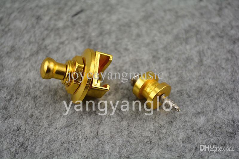 1 زوج من 2 قطع الذهبي جولة رئيس غيتار كهربائي حزام الأقفال straplocks شحن مجاني