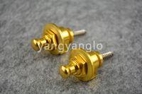 Wholesale Golden Strap Lock - 1 Pair Of 2pcs Golden Round Head Electric Guitar Strap Locks Straplocks Free Shipping