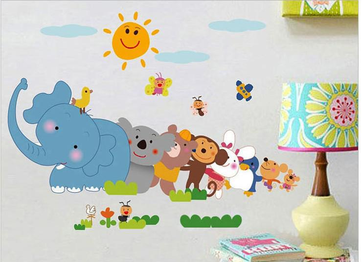 Wholesale Cartoon Cute Animals Tree Childrenu0027s Nursery Baby Room Decor Wall  Sticker Vinyl Christmas Decorations Vintage Painting Wallpaper Decor  Stickers ... Part 69