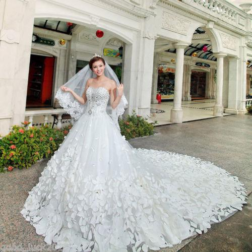 2014 Top Seller Bling Bling Cathedral Train Free Veil Sweetheart Appliques Rhinestones A-Line Wedding Dresses Sequins Bridal Dresses