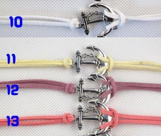 es al azar 2017 venta caliente cadena de cuero plata ancla encanto pulsera brazalete joyería