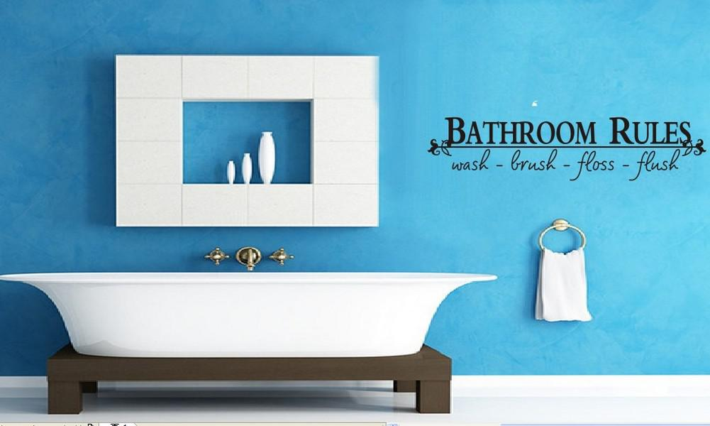Wall Stickers Removable Bathroom Rules Wash Brush Bathroom Decal Picture Art