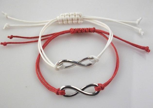 Armband der Unendlichkeit / im Silber - Unendlichkeits-Wunsch-Armband - Wachsschnüre koreanischer Kaschmir