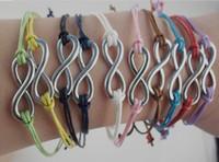 armbänder silberschnur großhandel-Armband der Unendlichkeit 24pcs / lot im Silber - Unendlichkeits-Wunsch-Armband - Wachsschnüre koreanischer Kaschmir