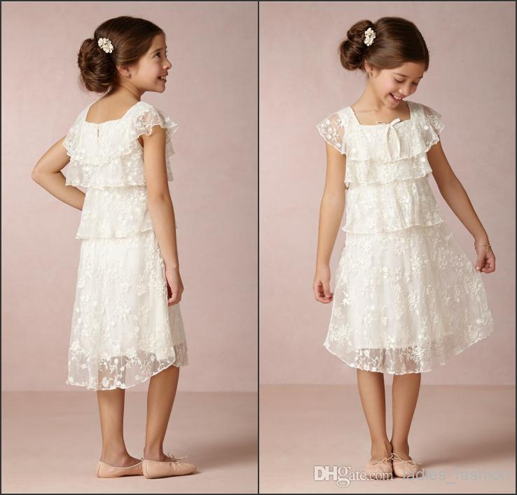 Vintage Sweet A Line Lace Flower Girls' Dresses Square Tea Length ...