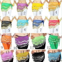 Wholesale Belly Dance Chiffon Skirts - 12 Colors 3 Rows 128 Coins Belly Egypt Dance Hip Skirt Scarf Wrap Belt Costume