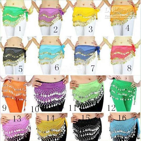 best selling 12 Colors 3 Rows 128 Coins Belly Egypt Dance Hip Skirt Scarf Wrap Belt Costume