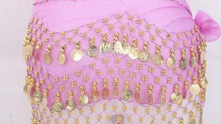 es 3 filas 128 monedas Vientre Egipto Baile Falda de la cadera Bufanda Abrigo Traje de cinturón