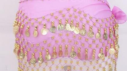 12 Farben 3 Reihen 128 Münzen Bauch Ägypten Dance Hip Rock Schal Wrap Gürtel Kostüm