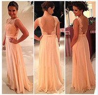 Wholesale Tulle Bateau Fashion White Chiffon - 2016 Sexy New Orange Chiffon Sleeveless Floor Length Prom Dresses Tulle Lace Applique Beads Backless Pageant Evening Gowns