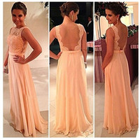 Wholesale Multi Color Pictures - Beautiful Peach Color New A-Line Backless Prom Dresses Lace Floor Length Long Chiffon Nude Back Evening Bridesmaid Dress Brides Maid Dress