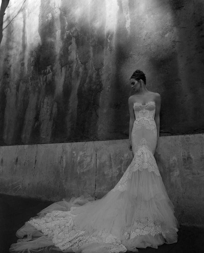 2014 Sexy Mermaid Sweetheart free veils with Long Train Lace Tulle Zipper Back Destination Wedding Dresses ID1202