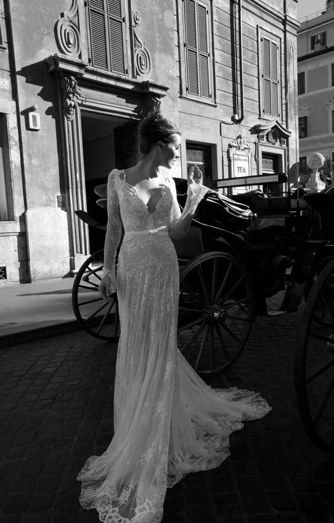 Amazing 2014 Long Sleeve Mermaid Lace V Neck Wedding Dresses Gown with Pearls Bead ID1210