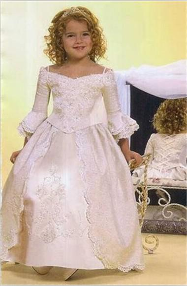 2014 Lovely! New Style Ankle Lenght Applique Lace Princess Flower Girl Dresses for Wedding Junior HT0224