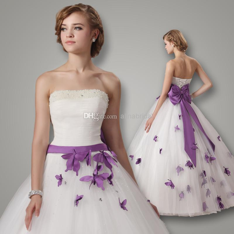 Vestidos De Novia 2015 Wedding Dresses White Strapless Ball Gown Floor Length Dress Bow Ribbon Beaded Pearls Purple Butterfly Bridal Gowns Tulle
