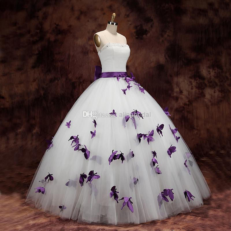 Compre Vestidos De Novia 2015 Vestidos De Novia Vestido Blanco Sin Tirantes Vestido Largo Hasta El Suelo Arco Cinta Perlas Moldeadas Mariposa Púrpura