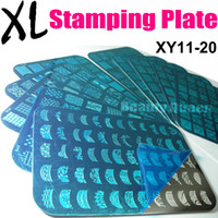 Wholesale Wholesale Stencils French - NEWEST 10 Style XL Big French Full Designs Nail Stamping Plate Nail Art Stamp Image Plate Metal Stencil Template Transfer Polish New XY11-20