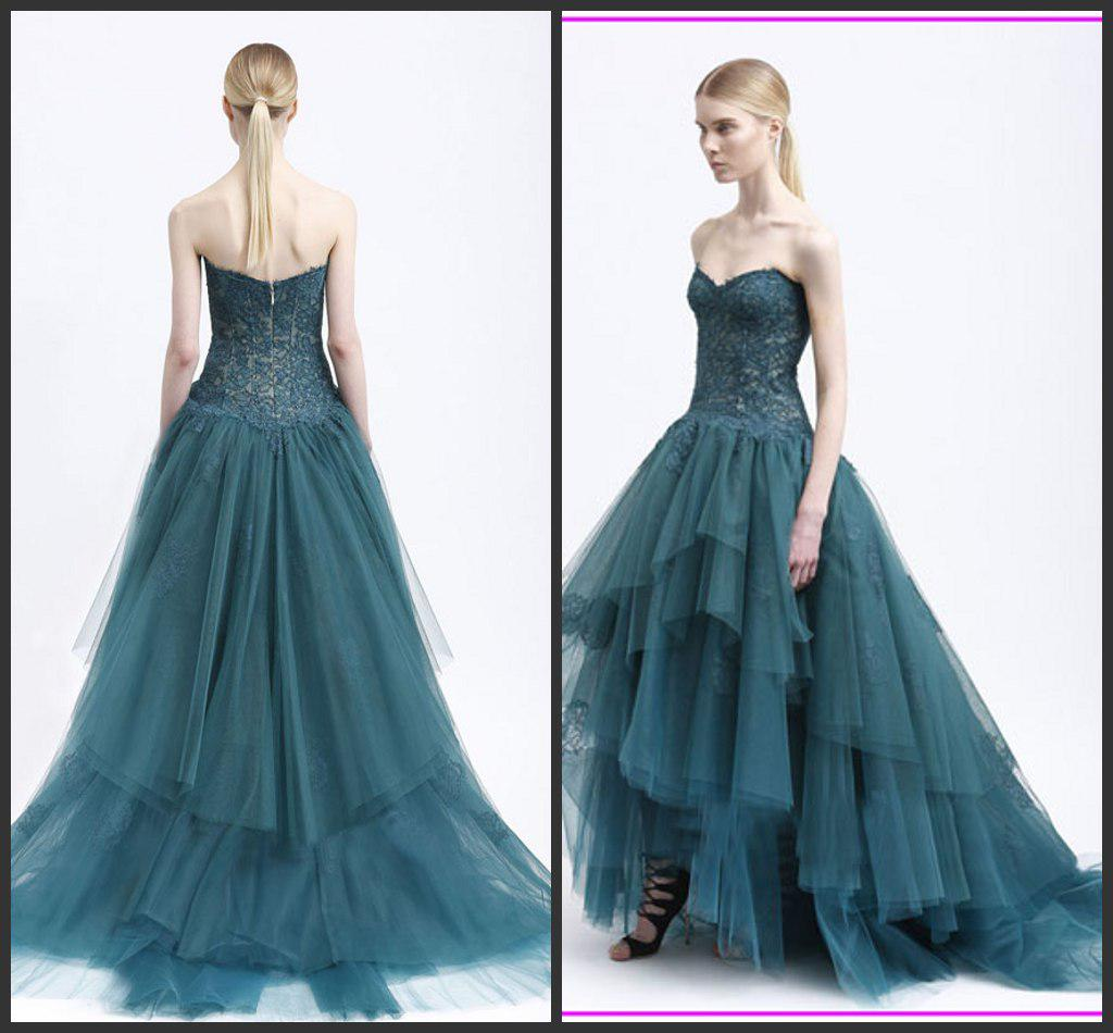 Großhandel Kleider Neue Mode 2013 Waldgrün Chantilly Spitze ...