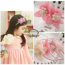 Wholesale Pearl Baby - Girls Cute Pearl Flower Hair Bows Childrens Accessories Kids Hair Bows Baby Hair Accessories Hair Things Fashion Princess Headwear Baby Bows