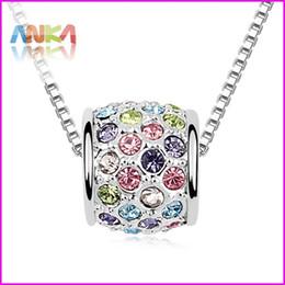Livraison gratuite tambour plein cristal pendentif rond couvert strass collier fait avec Swarovski élément bijoux cadeau des femmes # 95797 ? partir de fabricateur