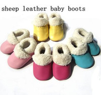 Wholesale Plain Baby Shoes - Plain color shoes baby bootie Genuine leather shoes kids shoes WINTER baby boots many colors sheepskin children bootie,Keep warm