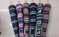 Wholesale Cashmere Leggings Women - Wholesale Lady Leggings Imitation cashmere Snowflakes fawn tights women Ninth pants 24 designs