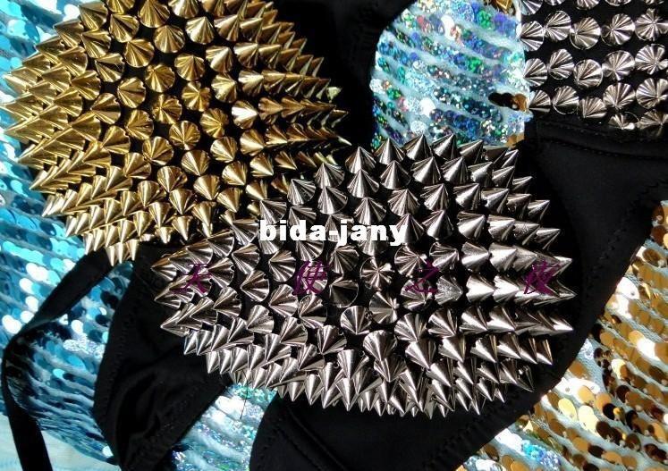 Unique Rivet Bra Women Party Disco All-over Spike Stud Design Bra Metallic Punk Dance Bra Gloden Sliver
