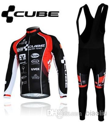 Winter thermal fleece cycling jersey 2012 Black Cube Long Sleeve Cycling Jerseys Cycling Bib Pants Set winter cycling clothing free shipping