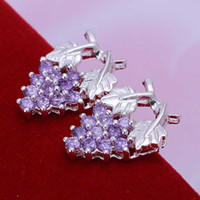 Wholesale Wholesale Price Grapes - Factory price top quaility 925 sterling silver jewelry earring fine purple grape ball stud jewelry earring SMTE040