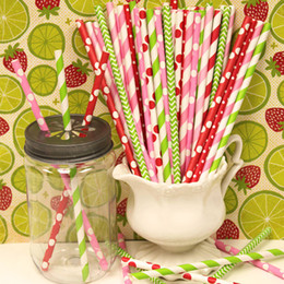 Wholesale Polka Dots Paper Straws - Free Shipping quality 10000pcs birthday wedding colors Chevron Striped and Polka Dot Drinking Paper Straws Wholesale Colorful Paper Straw
