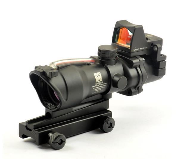 Trijicon TA31 Style ACOG 4X32 Real Fibre Source Red Illuminated Scope con RMR Micro Red Dot