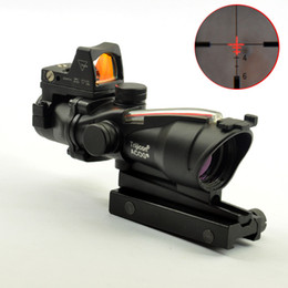 micro rifle scopes UK - ACOG Style 4X32 Real Fiber Source Red Illuminated Scope w  RMR Micro Red Dot