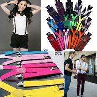 Wholesale Fancy Dress Braces - Women Men Clip-on Suspenders Y-Shape Adjustable Braces Solid Color Fancy Dress 10pcs DCE*10