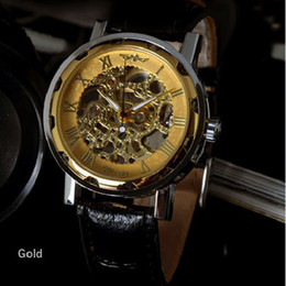 Wholesale Transparent Digital Watch - 2015 Luxury Hollow Transparent Dial WINNER Classic Skeleton Dial Hand Winding Watch Leather Band Strap Mechanical Sport Army Watches Men