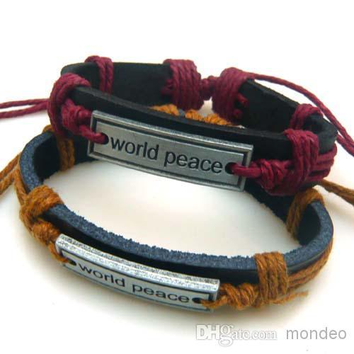 Cooles Material Großhandelshandarbeit-echtes Leder-Metallunisexart und weiselegierungs-Charme-Armband-Manschettenweltfriedensarmband /