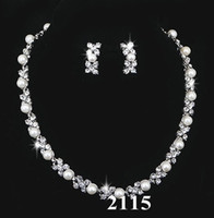 Wholesale Earring Crystal Pearl Bride - Bridal Pearl Crystal Necklace Earring Silver Jewelry Set Wedding Bride Bridesmaid Jewellery Set Bling Gift 1228