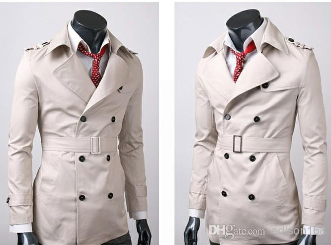 New Men's Slim Casual Fashion 3-Fastener Cotton Trench Coats Overcoat M-2XL Y001