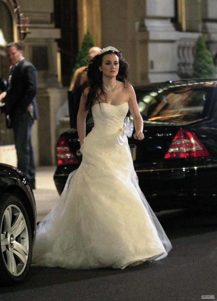 Princess A Line Strapless Neckline Bow Sashes Court Train Wedding Dresses Inspired by Gossip Girl Blair Wedding