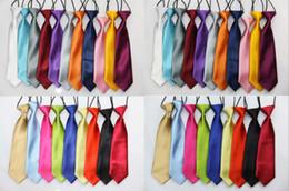 Wholesale Elastic Tie School - Wholesale - 10 Pcs lot + School Boy Kids Solid Wedding Color Elastic Tie Necktie