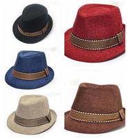 Wholesale Wholesale Childrens Summer Hats - summer autumn spring boy formal hat kids childrens boys flax sun hats beach jazz hat cap