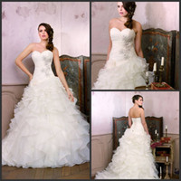 Wholesale Best Selling Taffeta Wedding Dress - Best Selling 2014 Spring Glamour Chapel Train Ruffled Sweetheart Strapless Princess Wedding Dresses Beautiful Flare Bridal Gown Divid8329