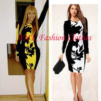 Wholesale Plus Size Stretch Pencil Dress - New Fashion Elegant Seleb O-neck Full Sleeve Knee-length Stretch Temperament Pencil Bodycon Party Cocktail Women Print Plus Size Dress