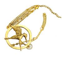 Wholesale Hunger Games Bracelet Ring - New Arrival Vintage style Golden Bronze Metal Hunger Games Mockingjay Bird Arrow Ring Bracelets 12Peces lot