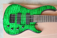 Wholesale Green Electric Bass Guitar - Newest 5 Strings Bass Guitar Electric Bass Green lines Top Musical instruments