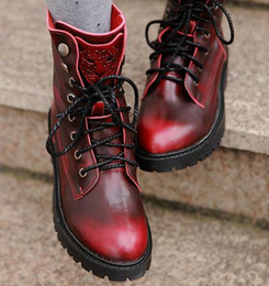 Wholesale rubber sole cowboy boots - 2014 Women's Leopard Head Real Genuine Leather Martin Boots Newest Wine Red Antiskid Sole Cowskin Knight Boots ePacket Free Shipping