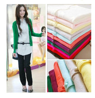 Wholesale Long Cashmere Coat Ladies - 2016 new Women's girl Cardigan Long Sleeve cashmere woollen lady sweaters coat overcoat many color