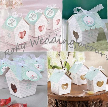 Free Shipping 100PCS Lovely Bird House Favor Boxes Candy Package for Wedding Party Favors Boxes House Paper Candy Boxes with Ribbon and Tag