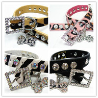 Wholesale Luxury Pet Products Wholesale - Dog Collar Free Shipping Bling Genuine Leather cow Luxury Rhinestons Pet Collar Bone Charm Pet Products 12pcs lot