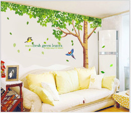 Wholesale Large Green Tree Wall Stickers - Green Tree Wall Sticker Fresh Green Leaves Wall Decal Large Tree Wall Paper for Bedroom Living Room 256cm*88cm